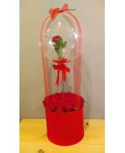Aşkımı Hisset Kırmızı Balonlu Kuyu Gül